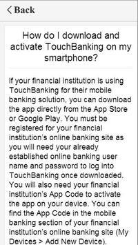 FAQs for TouchBanking apk screenshot