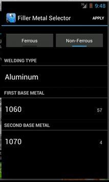 Filler Metal Selector Free apk screenshot