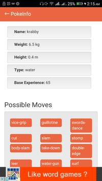 Info of Pokemon apk screenshot