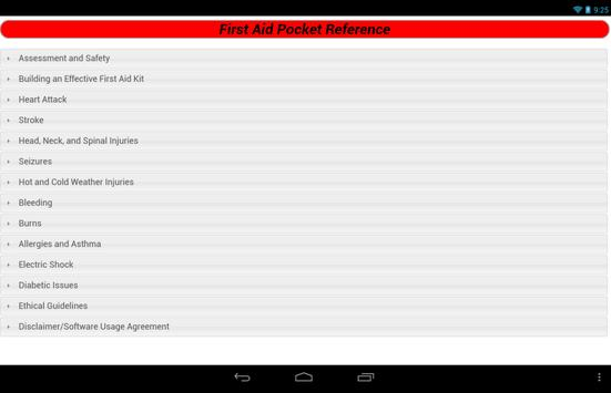 First Aid Pocket Reference apk screenshot