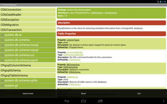 Yii Class Reference apk screenshot