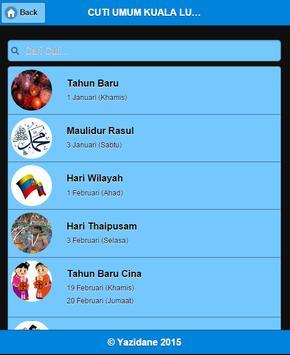 Cuti Umum 2015 - MALAYSIA apk screenshot