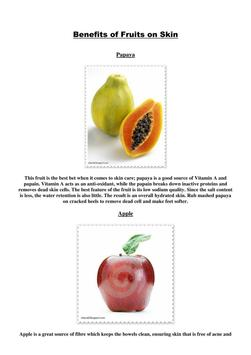 Benefits of fruits on skin poster