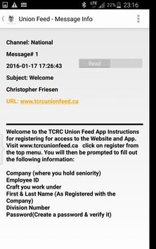 TCRC Union Feed apk screenshot