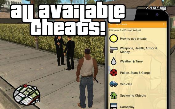 All cheats for GTA San Andreas poster