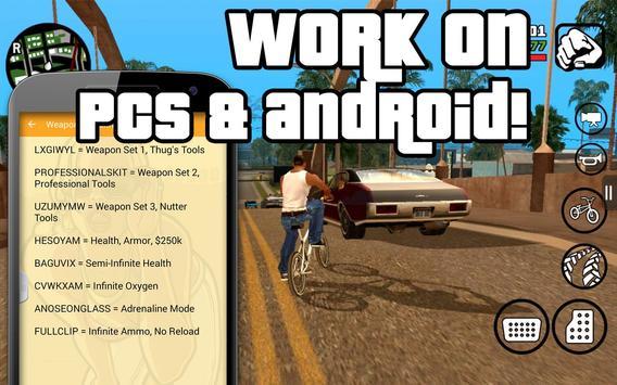 All cheats for GTA San Andreas apk screenshot