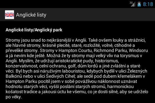 Anglicke listy - Karel Capek apk screenshot