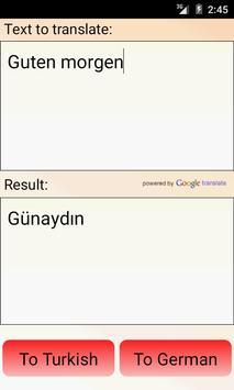 German Turkish Translator apk screenshot