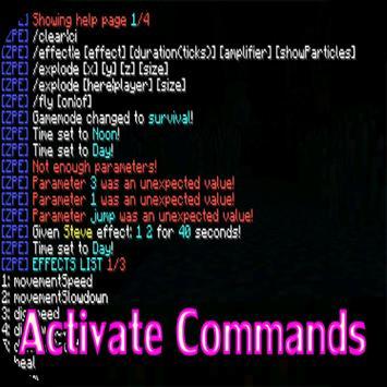 Activate Commands Mod for MCPE apk screenshot