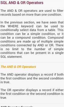 SQL Tutorials apk screenshot