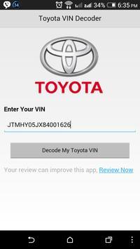 Toyota VIN Decoder poster