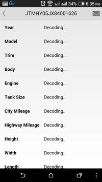 Toyota VIN Decoder apk screenshot