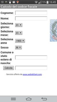 Calcolo del codice fiscale apk screenshot