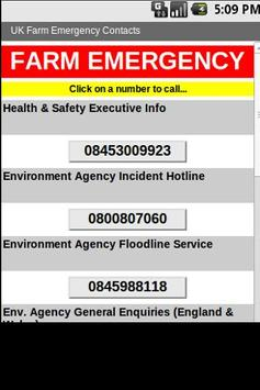UK Farm Emergency Contacts poster