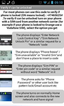 Samsung unlock codes apk screenshot