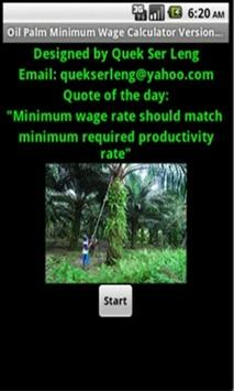 Oil Palm Minimum Wage Cal poster