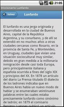 Diccionario Lunfardo apk screenshot