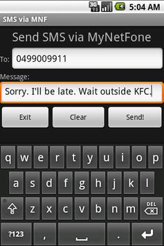 SMS via MyNetFone - Free apk screenshot