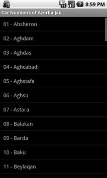 Car numbers of Azerbaijan apk screenshot