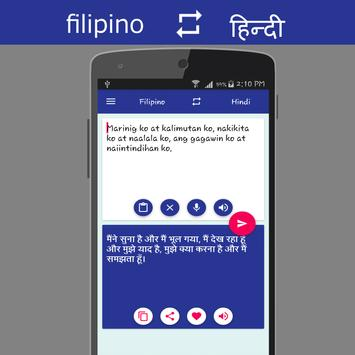 Filipino - Hindi Translator apk screenshot