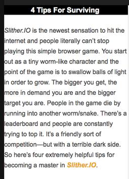 Tips for slither.io apk screenshot