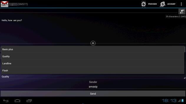 SMSoIP SMS77 Plugin apk screenshot