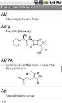 Acronyms in Life Sciences apk screenshot