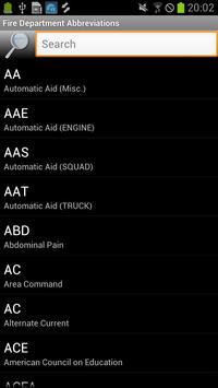 Fire Department Abbreviations apk screenshot