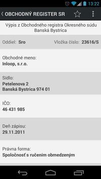 Obchodný register SR apk screenshot
