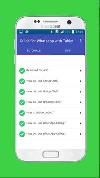Tips for whatsapp wth tablets apk screenshot