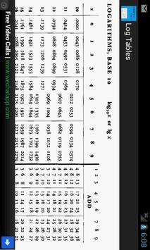 Logarithm Tables - Maths apk screenshot