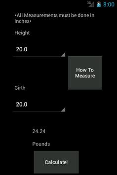 Horse Weight Calculator apk screenshot