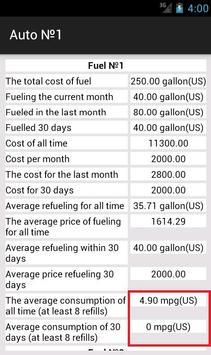 Fuel manager, calculator cost apk screenshot