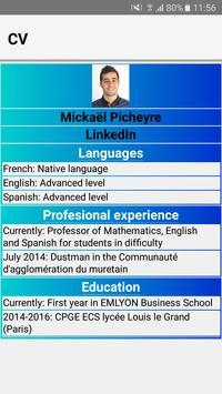 Mickael Picheyre CV App apk screenshot
