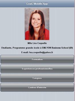 Lea Coquelle CV MobileApp poster