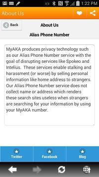 Alias Phone Number apk screenshot