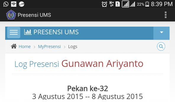 Presensi UMS apk screenshot