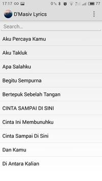 Lirik Lagu D'Masiv apk screenshot