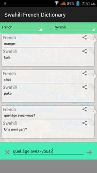 French Swahili Dictionary apk screenshot