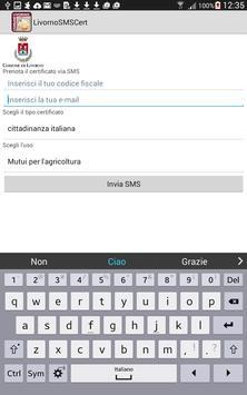 Certificati anagrafici via SMS poster