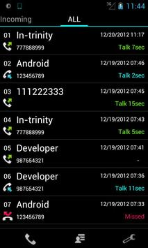 Slide Call-log Free apk screenshot
