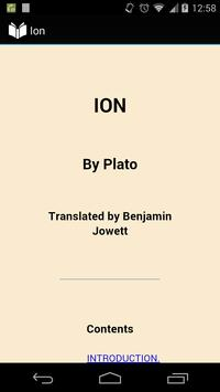 Ion by Plato poster