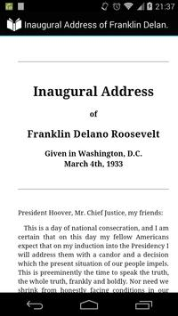 Inaugural Address of Roosevelt poster