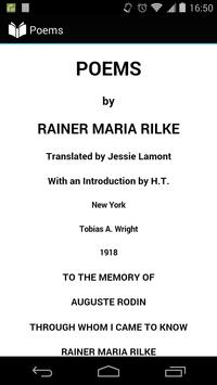 Poems by Rainer Maria Rilke poster