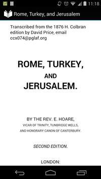 Rome, Turkey, and Jerusalem poster