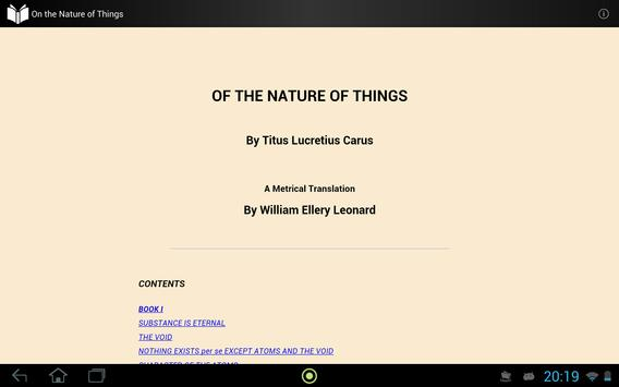 On the Nature of Things apk screenshot