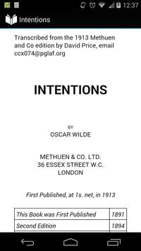 Intentions by Oscar Wilde poster