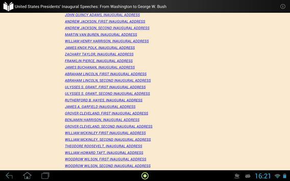 Presidents' Inaugural Speeches apk screenshot