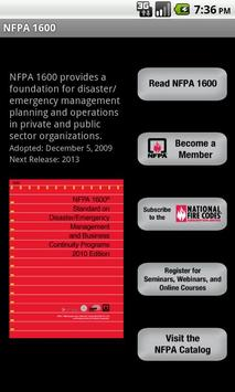 NFPA 1600 2007 Edition poster