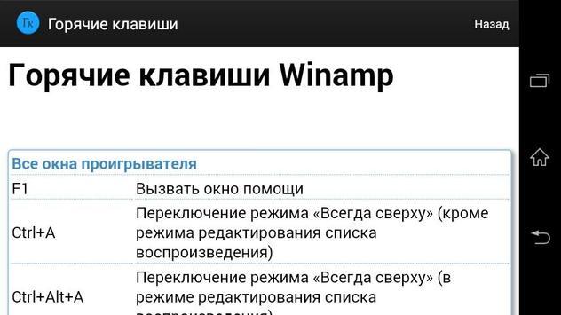 Горячие клавиши (справочник) apk screenshot